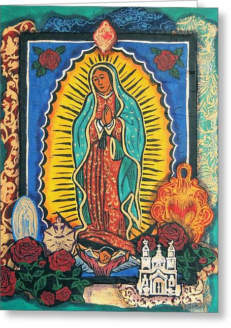 Retablos Greeting Cards - Guadalupe Collage in Turquoise Greeting Card by Candy Mayer