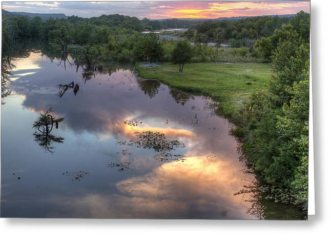 Texas Hill Country Landscape Greeting Cards - Guadalupe River Reflections at Sunset Greeting Card by Paul Huchton