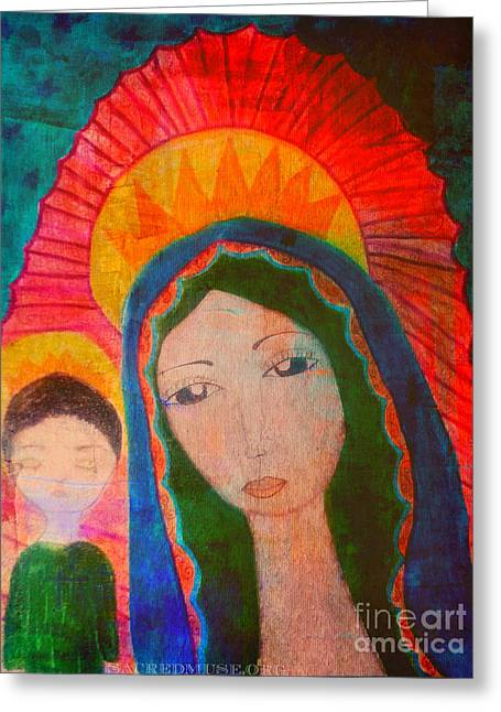 Baby Jesus Mixed Media Greeting Cards - Guadalupe Greeting Card by Sacred  Muse