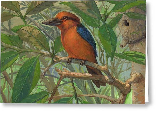 Birds In A Nest Greeting Cards - Guam Micronesian Kingfisher Greeting Card by ACE Coinage painting by Michael Rothman