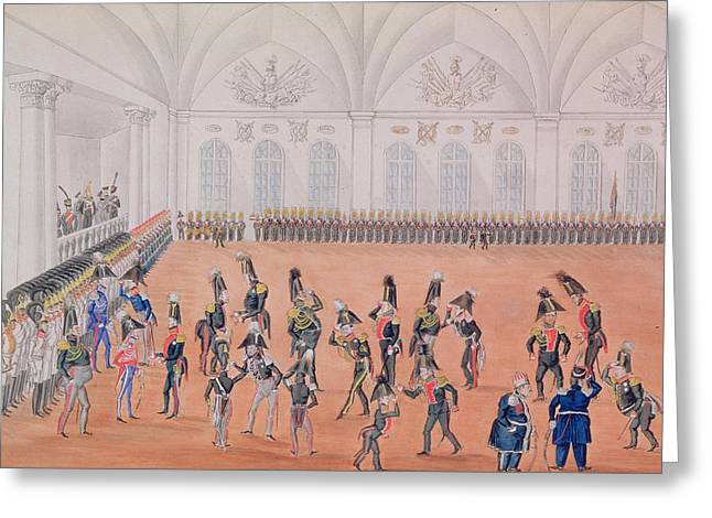 Uniformed Greeting Cards - Guard Parade, 1820s Wc On Paper Greeting Card by Russian School