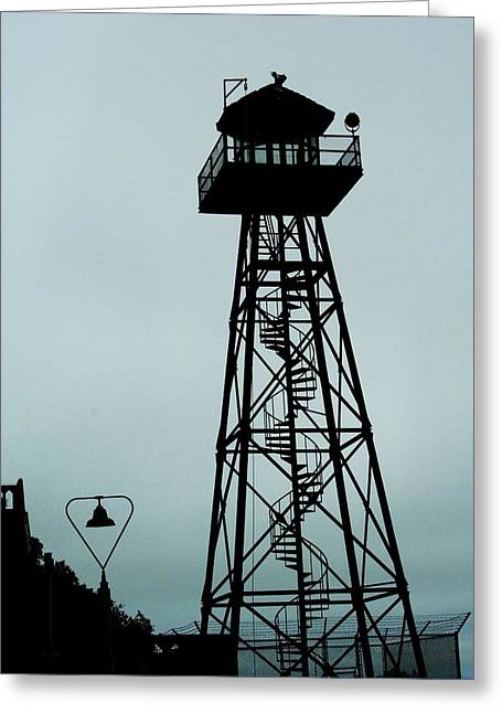 Alcatraz Greeting Cards - Guard Tower Alcatraz Greeting Card by Christopher Hoffman