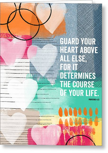 Scripture Mixed Media Greeting Cards - Guard Your Heart- contemporary scripture art Greeting Card by Linda Woods