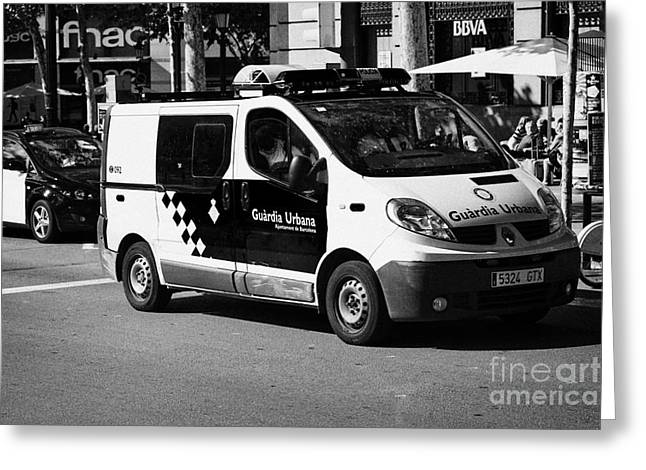 Police Officer Greeting Cards - Guardia Urbana Police Patrolling City Centre Of Barcelona Catalonia Spain Greeting Card by Joe Fox