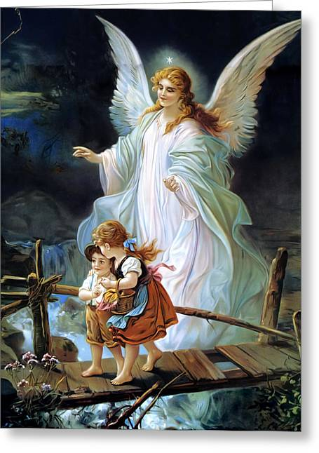 Printed Paintings Greeting Cards - Guardian Angel and Children Crossing Bridge Greeting Card by Lindberg Heilige Schutzengel