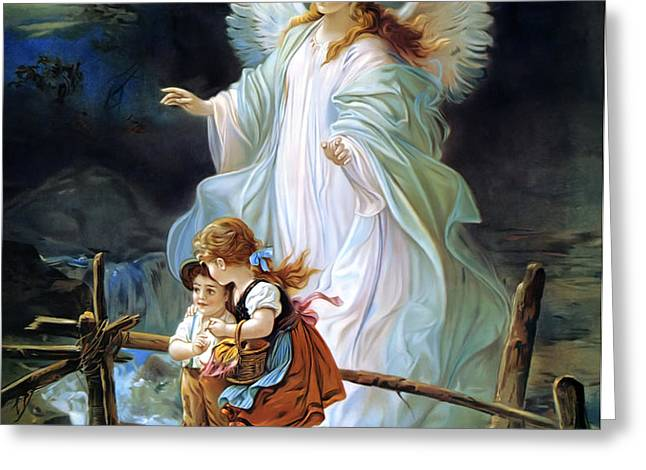 Guardian Angel and Children Crossing Bridge Greeting Card by Lindberg Heilige Schutzengel