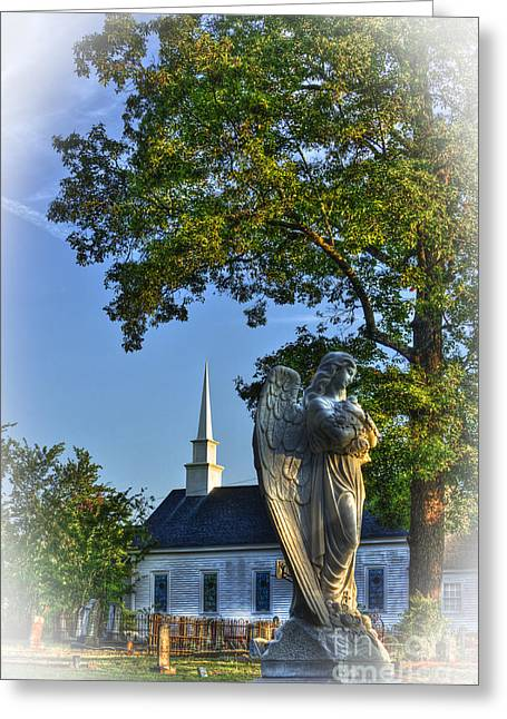 Leach Greeting Cards - Guardian Angel at Walker UMC Cemetery Greeting Card by Reid Callaway