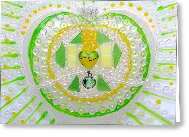 Angels Glass Art Greeting Cards - Guardian Angel Heart Greeting Card by Heidi Sieber