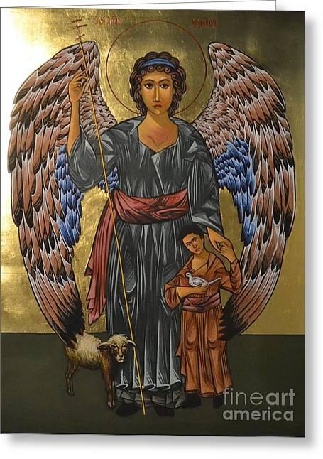 Byzantine-russian Greeting Cards - Guardian Angel Greeting Card by Kateryna Kurylo