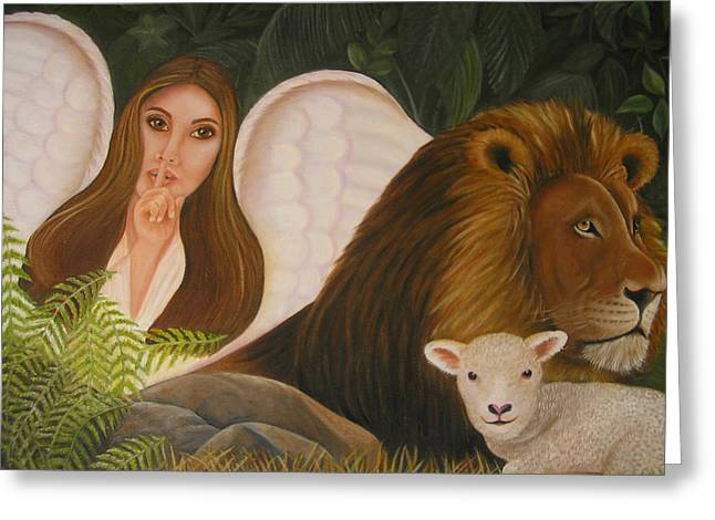 Lion And The Lamb Greeting Cards - Guardian Angel Greeting Card by Kay Daniels