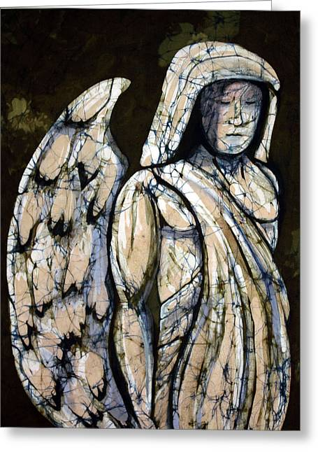 Angel Tapestries - Textiles Greeting Cards - Guardian Angel Greeting Card by Kay Shaffer