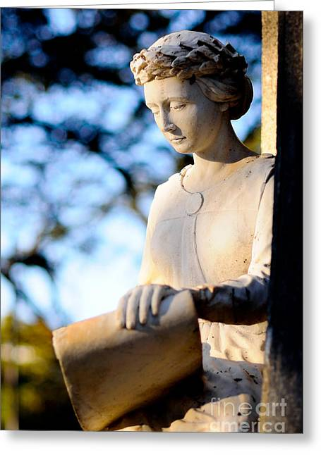 Second Lady Greeting Cards - Guardian angel - Marble sculpture of a female figure Greeting Card by David Hill