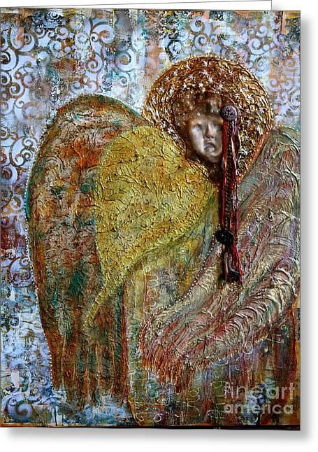 Heavenly Mixed Media Greeting Cards - Guardian Angel Greeting Card by Nancy TeWinkel Lauren