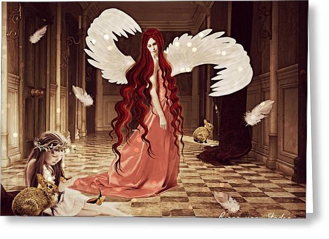 Playing Angels Digital Greeting Cards - Guardian Angel Greeting Card by Riana Van Staden