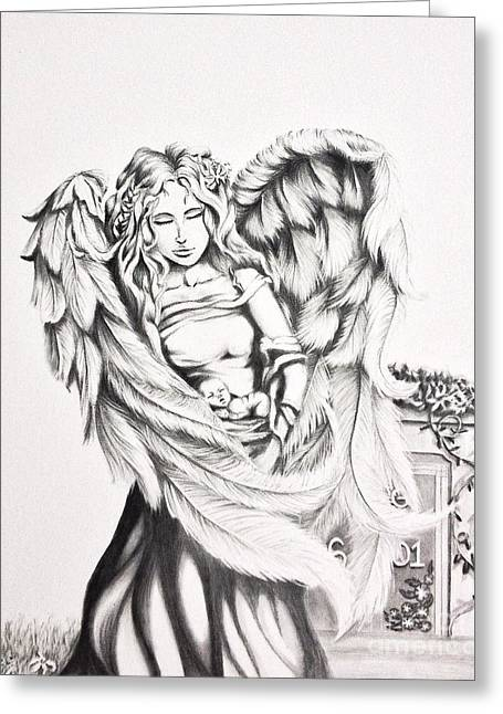 Guardian Angel Drawings Greeting Cards - Guardian Angel  Greeting Card by Shayla Tansey