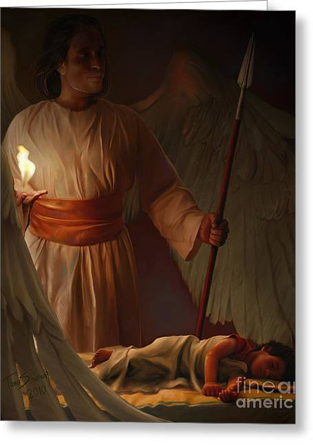 Biblical Greeting Card featuring the painting Guardian Angel by Tamer and Cindy Elsharouni