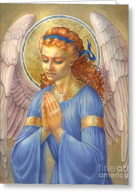 Angel Blues Greeting Cards - Guardian Angel Greeting Card by Zorina Baldescu