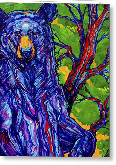 Vivid Colour Paintings Greeting Cards - Guardian Bear Greeting Card by Derrick Higgins