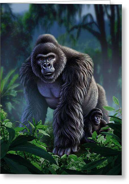 Primates Greeting Cards - Guardian Greeting Card by Jerry LoFaro