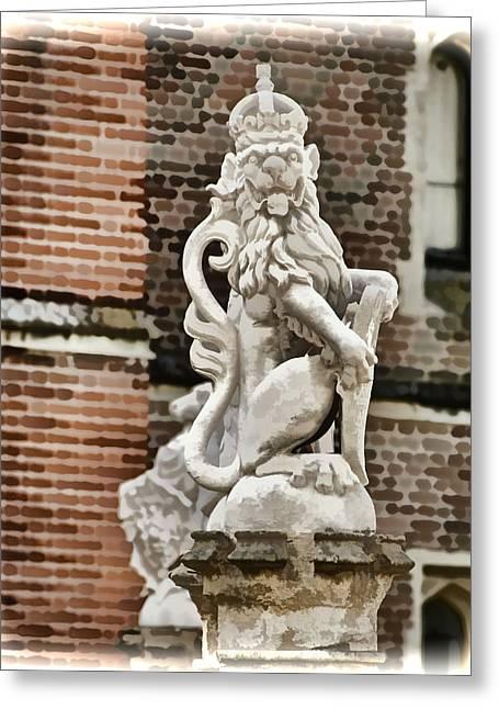Hampton Court Greeting Cards - Guardian Lion - Hampton Court England Greeting Card by Jon Berghoff