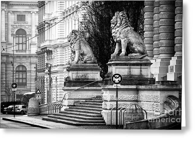 Old Vienna Greeting Cards - Guardian Lions in Wien Greeting Card by John Rizzuto