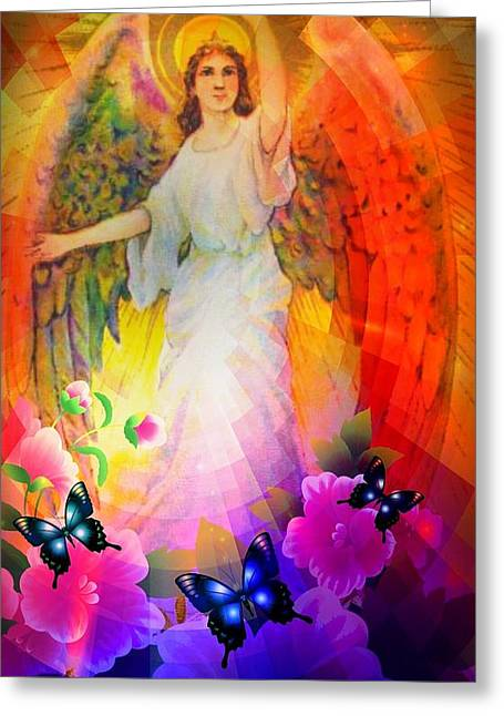 Seraphim Angel Greeting Cards - Guardian Greeting Card by Maria Urso
