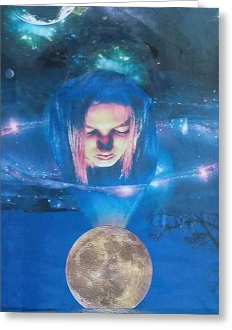 Outer Space Pyrography Greeting Cards - Guardian Greeting Card by Mike  Amato