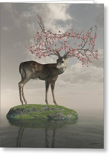 Seasonal Digital Art Greeting Cards - Guardian of Spring Greeting Card by Cynthia Decker