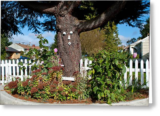 Flowers On A Fence Greeting Cards - Guardian of the Flowers Greeting Card by Roger Reeves  and Terrie Heslop