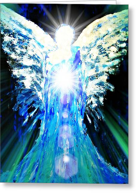 Archangel Digital Art Greeting Cards - Guardian of The Light Greeting Card by Alma Yamazaki