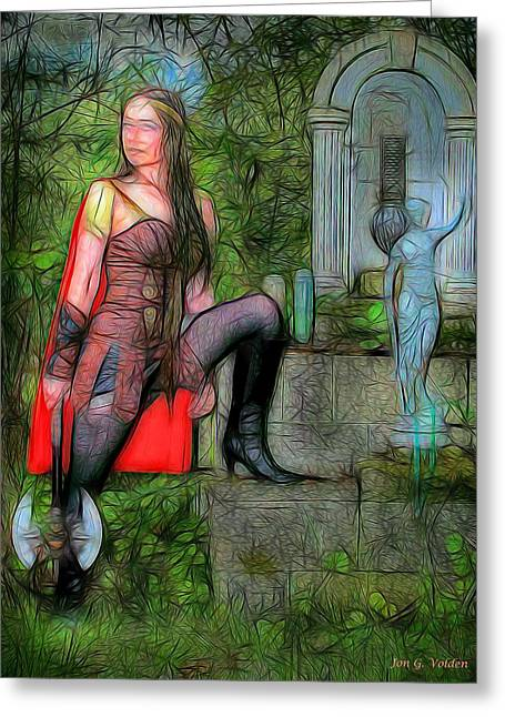 Warrior Goddess Photographs Greeting Cards - Guardian of the Shirne Greeting Card by Jon Volden