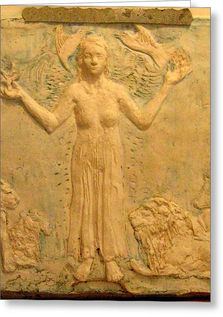Spirit Sculptures Greeting Cards - Guardian of the world Greeting Card by Priscilla Cross