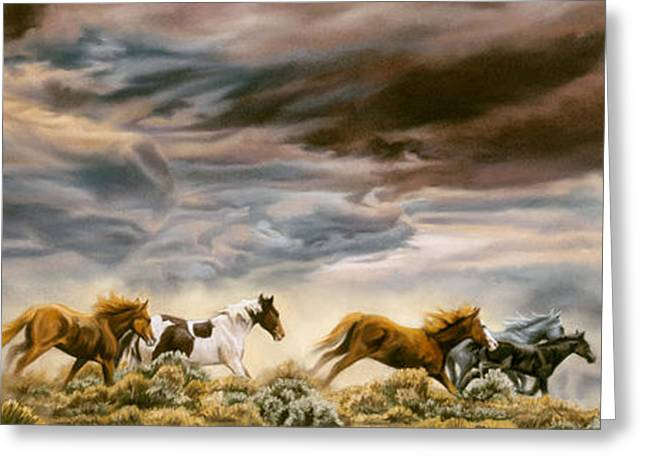 Wild Horse Pastels Greeting Cards - Guardian Spirits Greeting Card by Kim McElroy