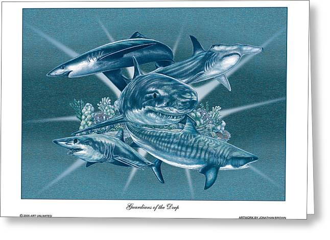 White Shark Drawings Greeting Cards - Guardians of the Deep Greeting Card by Jonathan W Brown