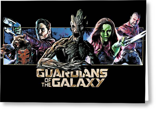 Comics Greeting Cards - Guardians Of The Galaxy Wide Greeting Card by - BaluX -