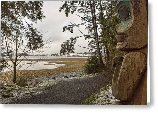 Southeast Alaska Greeting Cards - Guarding Sitka Greeting Card by Tim Grams