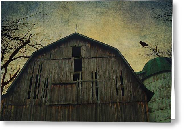 Aged Print Greeting Cards - Silo Guard Greeting Card by Gothicolors Donna Snyder
