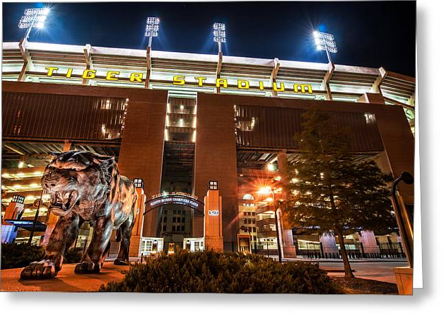 Tigers Tradition Greeting Cards - Guarding Tiger Stadium Greeting Card by Andy Crawford