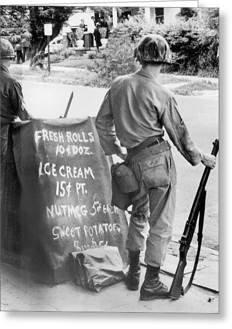 Civil Rights Movement Greeting Cards - Guardsmen At Rev. Abernathys Greeting Card by Underwood Archives