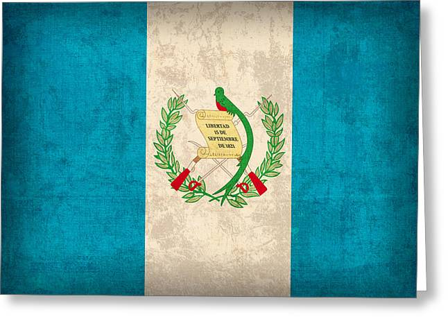 Guatemala Greeting Cards - Guatemala Flag Vintage Distressed Finish Greeting Card by Design Turnpike