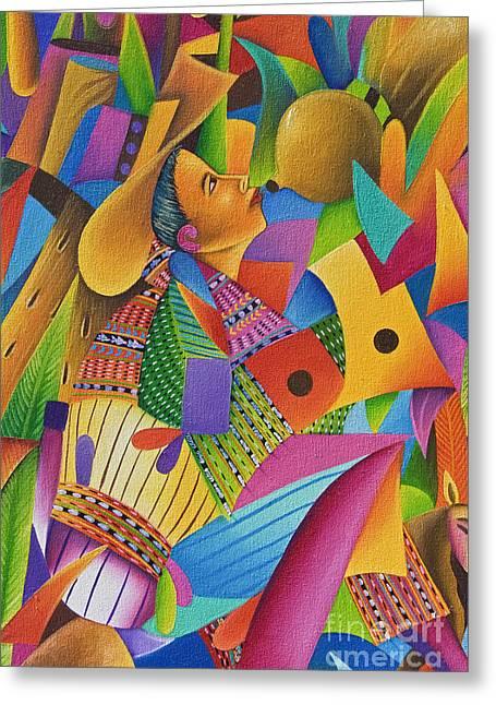 Buy Local Greeting Cards - Guatemala, Lake Atitlan, Panajachel, colorful painting for sale Greeting Card by Richard Maschmeyer