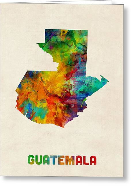 Guatemala Greeting Cards - Guatemala Watercolor Map Greeting Card by Michael Tompsett