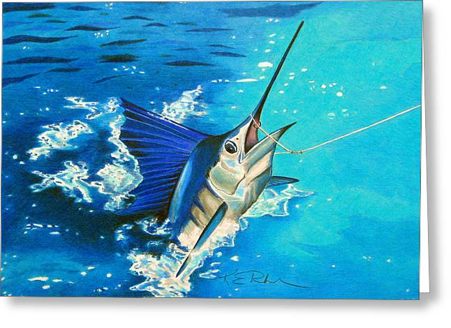 Saltlife Greeting Cards - Guatemalan Sailfish Greeting Card by Karen Rhodes
