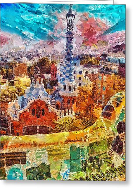 Barcelona Paintings Greeting Cards - Guell Park Greeting Card by Mo T