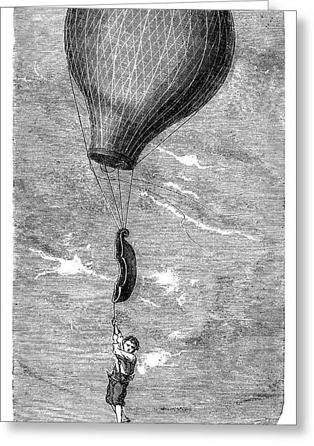 Guerin Balloon Accident Greeting Card by Science Photo Library