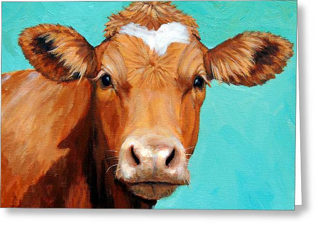 Guernsey Greeting Cards - Guernsey Cow on LIght Teal No Horns Greeting Card by Dottie Dracos
