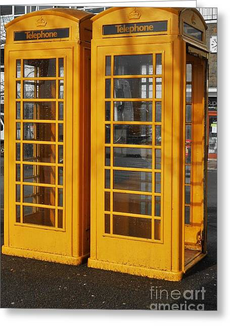 City Scapes Greeting Cards Greeting Cards - Guernsey Phone Booths Greeting Card by Courtney Dagan