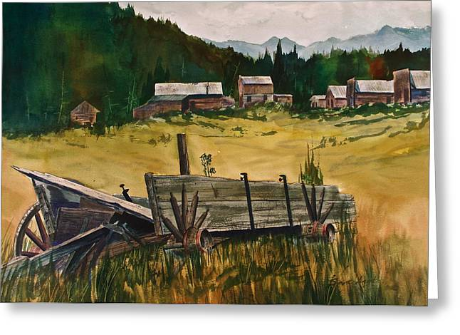 Wooden Wagons Paintings Greeting Cards - Guess Well Settle Here I Greeting Card by Frank SantAgata