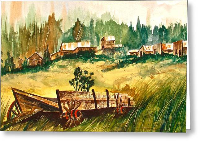 Wooden Wagons Paintings Greeting Cards - Guess Well Settle Here III Greeting Card by Frank SantAgata