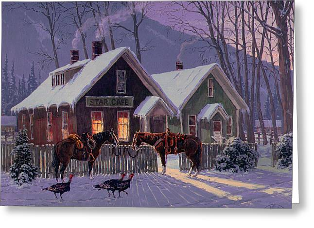 Thanksgiving Greeting Cards - Guest For Dinner Greeting Card by Randy Follis